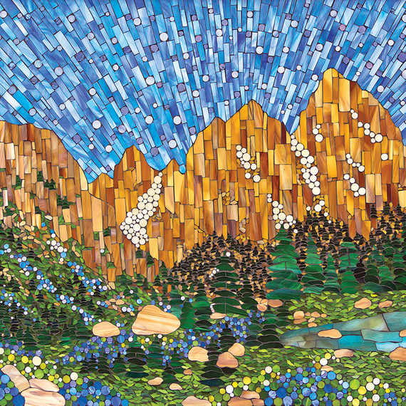 Kasia Polkowska stained glass mosaic Wyoming landscape